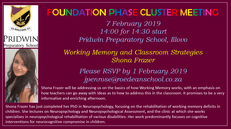 Foundation Phase Cluster Meeting 7 February 2019