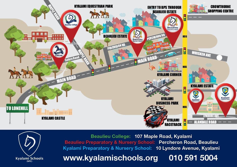 Map to Kyalami Schools